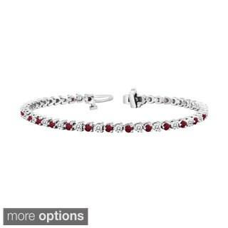 Auriya 14k Gold 1 1/2ct Ruby and 1 1/2ct TW Diamond Tennis Bracelet (H-I, SI1-SI2)