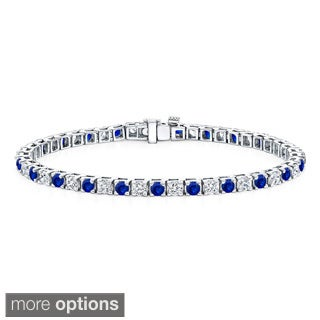 Auriya 14k Gold 2 1/2ct Blue Sapphire and 2 1/2ct TW Diamond Tennis Bracelet