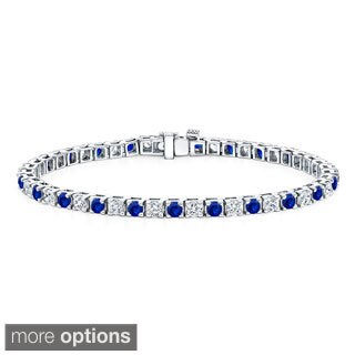 Auriya 14k Gold 3 1/2ct Blue Sapphire and 3 1/2ct TW Diamond Tennis Bracelet (H-I, SI1-SI2)