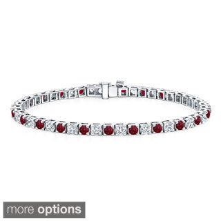 Auriya 14k Gold 5ct Ruby and 5ct TW Diamond Tennis Bracelet (H-I, SI1-SI2)