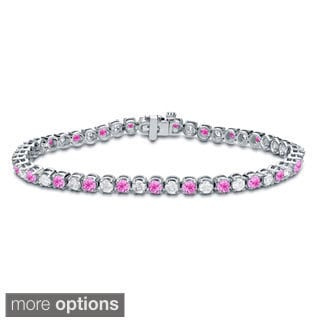 Auriya 14k Gold 5ct Pink Sapphire and 5ct TDW Diamond Tennis Bracelet (H-I, SI1-SI2)