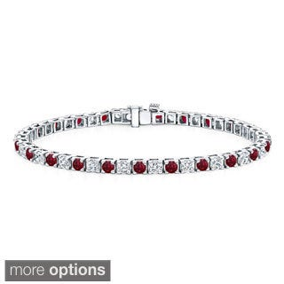 Auriya 14k Gold 3 1/2ct Ruby and 3 1/2ct TW Diamond Tennis Bracelet (H-I, SI1-SI2)