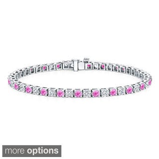 Auriya 14k Gold 5ct Pink Sapphire and 5ct TW Diamond Tennis Bracelet (H-I, SI1-SI2)