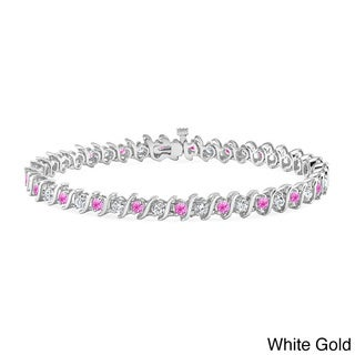 Auriya 14k Gold 3 1/2ct Pink Sapphire and 3 1/2ct TDW DiamondTennis Bracelet (H-I, SI1-SI2)