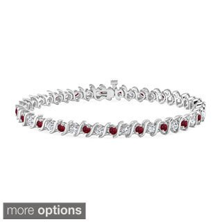 Auriya 14k Gold 2 1/2ct Ruby and 2 1/2ct TW Diamond Tennis Bracelet