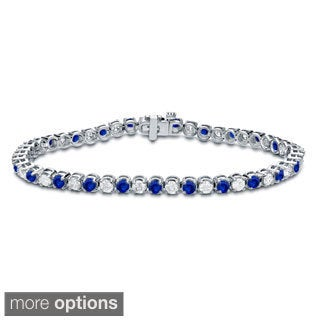 Auriya 14k Gold 5ct Blue Sapphire and 5ct TW Diamond Tennis Bracelet