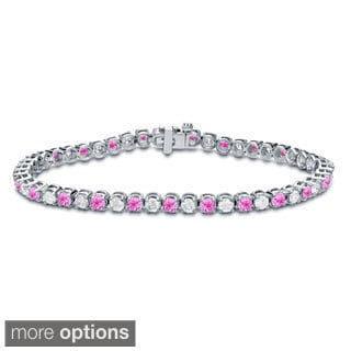 Auriya 14k Gold 3 1/2ct Pink Sapphire and 3 1/2ct TW Diamond Tennis Bracelet (H-I, SI1-SI2)