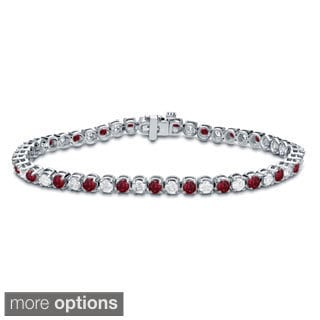 Auriya 14k Gold 2 1/2ct Ruby and 2 1/2ct TW Diamond Tennis Bracelet (H-I, SI1-SI2)