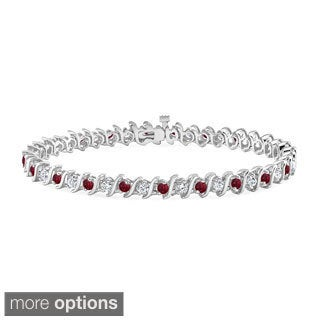 Auriya 14k Gold 3 1/2ct Ruby and 3 1/2ct TW Diamond Tennis Bracelet