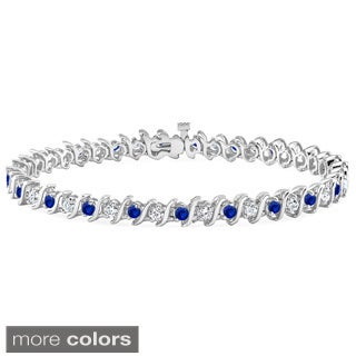Auriya 14k Gold 5ct Blue Sapphire and 5ct TW Diamond Tennis Bracelet (H-I, SI1-SI2)