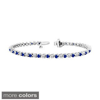 Auriya 14k Gold 5ct Blue Sapphire and 5ct TW Diamond Tennis Bracelet