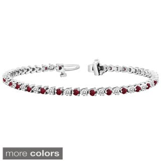 Auriya 14k Gold 3 3/5ct Ruby and 3 2/5ct TW Diamond Tennis Bracelet (H-I, SI1-SI2)