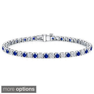 Auriya 14k Gold 1 1/2ct Blue Sapphire and 1 1/2ct TW Diamond Tennis Bracelet (H-I, SI1-SI2)