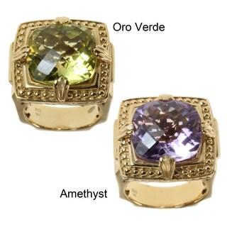 Dallas Prince Gold over Silver Lavender Amethyst or Oro Verde and Blue Zircon Ring