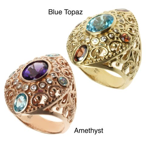 Dallas Prince Gold over Silver Swiss BLue Topaz and Mocha Zircon or Amethyst and Blue Zircon with White Sapphire Ring