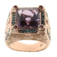 Dallas Prince Rose Gold over Silver Amethyst, Ruby and Blue Diamond Ring