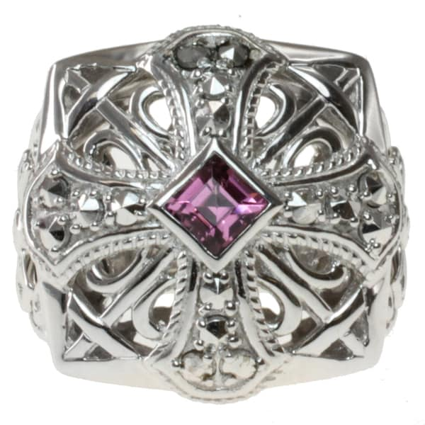 Dallas Prince Sterling Silver Rhodolite and Marcasite Ring