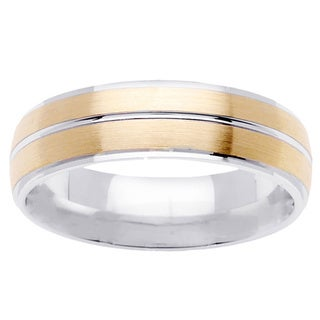 14k Two-tone Gold Men's Brushed Comfort Fit Wedding Band
