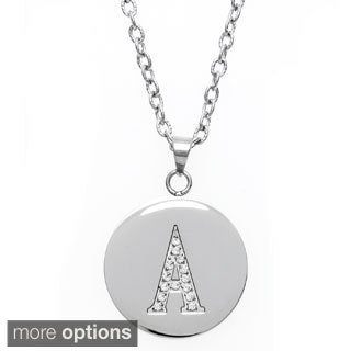 Eternally Haute Stainless Steel and Czech Crystal Initial Disc Pendant