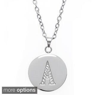Eternally Haute Stainless Steel and Czech Crystal Initial Disc Pendant|https://ak1.ostkcdn.com/images/products/8626102/Stainless-Steel-and-Czech-Crystal-Initial-Disc-Pendant-P15891457.jpg?_ostk_perf_=percv&impolicy=medium