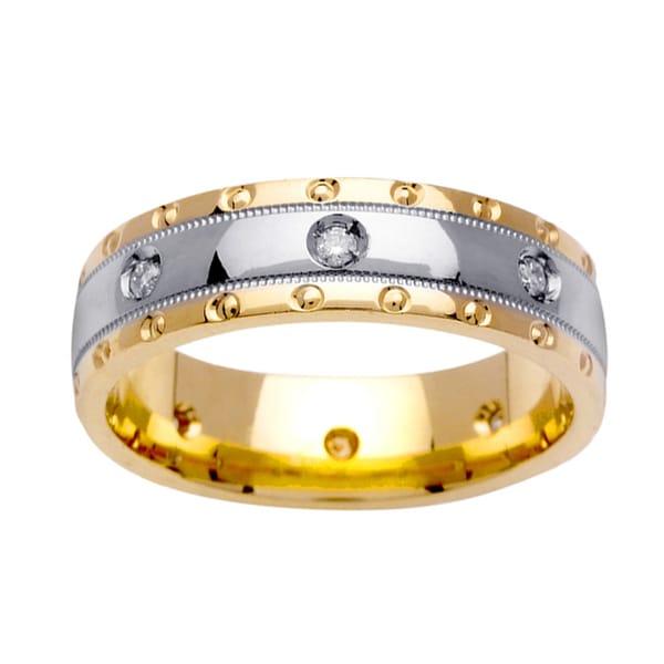 14k Two-tone Gold 1/6ct TDW Diamond Wedding Band Ring