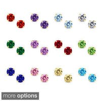 14k Yellow Gold 6mm Round-cut Cubic Zirconia Birthstone Stud Earrings