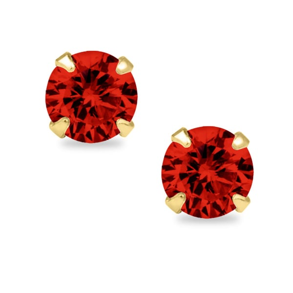 14k Yellow Gold 4mm Round-cut Cubic Zirconia Birthstone Stud Earrings