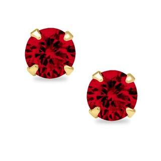 14k Yellow Gold 4mm Round-cut Cubic Zirconia Birthstone Stud Earrings