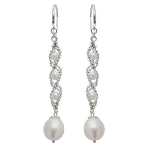 White Sterling Silver Freshwater Pearl Dangle Earrings (8-8.5 mm, 3-3.5 mm)
