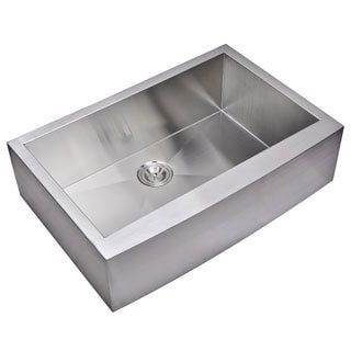 Water Creation 33-inch X 22-inch Zero Radius Single Bowl Stainless Steel Hand Made Apron Front Kitchen Sink