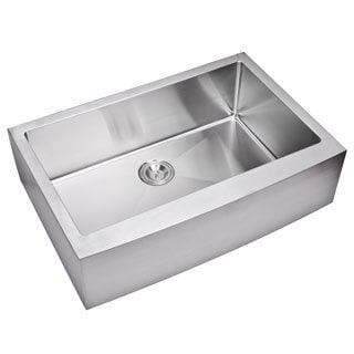 Water Creation 33-inch X 22-inch 15 mm Corner Radius Single Bowl Stainless Steel Hand Made Apron Front Kitchen Sink