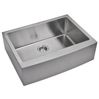 Water Creation  30-inch X 22-inch 15 mm Corner Radius Single Bowl Stainless Steel Hand Made Apron Front Kitchen Sink