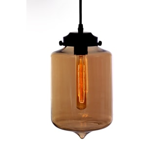Borja 1-light Brown Glass Adjustable Height Edison Pendant with Bulb