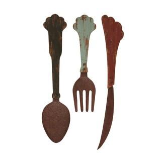 Antique Wood/ Metal Cutlery Decor (Set of 2)