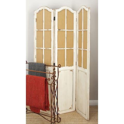 Rustic 71 x 48 Inch Window-Inspired Wooden Panel Screen by Studio 350