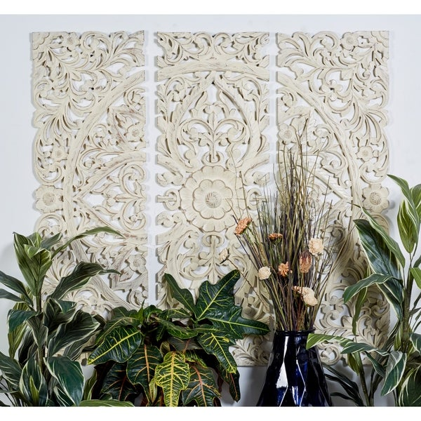 """16"""" x 48"""" Set of 3 Hand-Carved Distressed Wood Wall Panels by Studio 350"""
