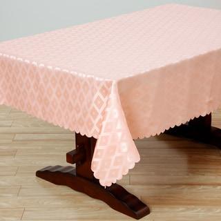 Two-tone Peach Diamond Damask 57x119-inch Rectangular Tablecloth