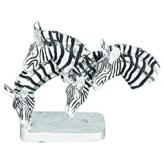 Polystone Grazing Zebras Table Sculpture