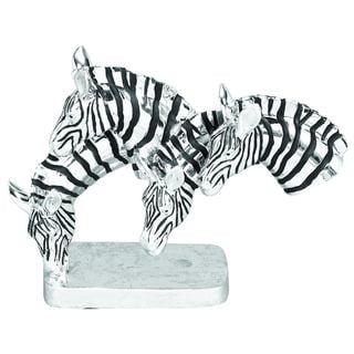 Polystone Grazing Zebras Table Sculpture
