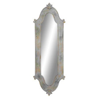 Dull silver wooden bordered long mirror free shipping for Silver long mirror