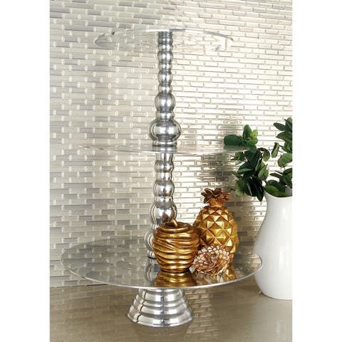 Modern 23 Inch Aluminum Three-Tier Rimless Cake Stand by Studio 350 - Silver