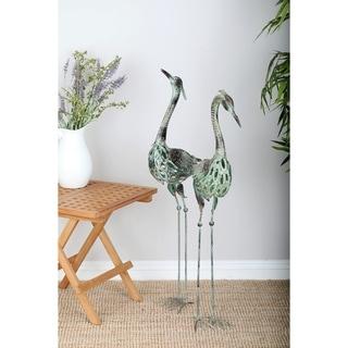 Set Of 2 Coastal Green Iron Crane Sculptures By Studio 350