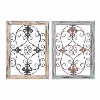Fleur-de-lis Design Wood/ Metal Wall Panels (Set of 2)