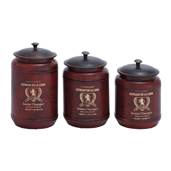 Red Transitional Style Canisters (Set of 3)
