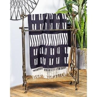 Traditional Black Finish Wood/ Metal Towel Rack