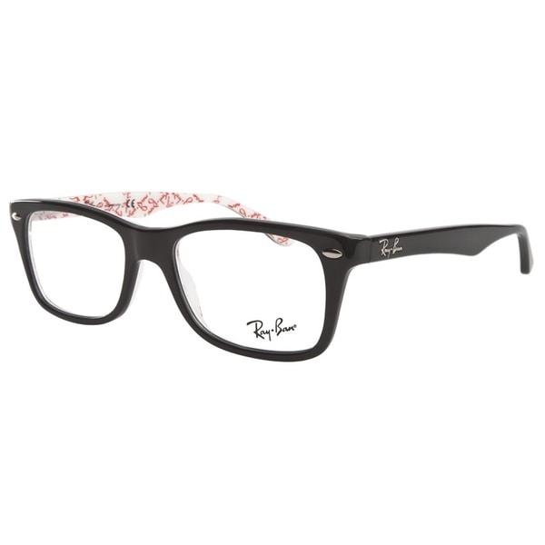510a348fa57 Shop Ray-Ban RB5228 5014 Black White Texture Prescription Eyeglasses ...