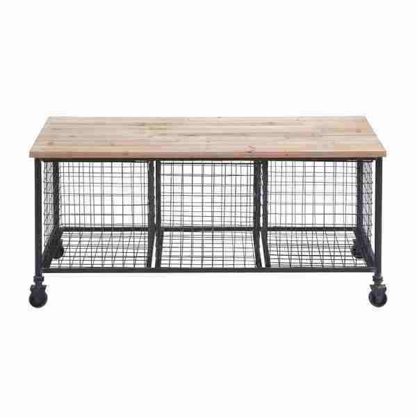 Beau Industrial Finish Storage Bench With 3 Wire Baskets