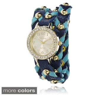 Geneva Platinum Women's Faux Leather Band Wrap Watch