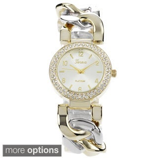 Geneva Platinum Women's Cubic Zirconia Chain Watch