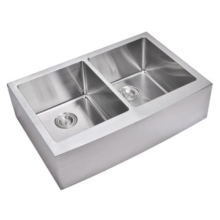 Water Creation 33-inch X 22-inch 15 mm Corner Radius 50/50 Double Bowl Stainless Steel Hand Made Apron Front Kitchen Sink